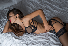 women, red lipstick, black lingerie, ribs, ass, garter belt, in bed, black stockings, brunette, eyeliner