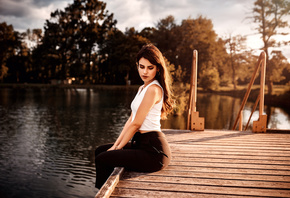 women, sitting, pier, lake, water, trees, women outdoors, hoop earrings