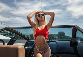Anastasia Zajarova, women, Oleg Klimin, blonde, brunette, boat, sunglasses, belly, tan lines, long hair, women outdoors, armpits, swimwear, pierced navel