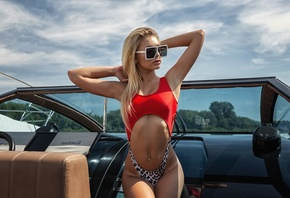 Anastasia Zajarova, women, Oleg Klimin, blonde, brunette, boat, long hair, women outdoors, armpits, tan lines, belly, pierced navels, wimwear, sunglasses