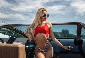 Anastasia Zajarova, women, Oleg Klimin, blonde, brunette, boat, tan lines, women outdoors, swimwear, pierced navel, belly, sunglasses