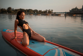women, Angelina Petrova, black swimsuit, kneeling, brunette, water, women outdoors, boat, looking away, wet hair, wet body