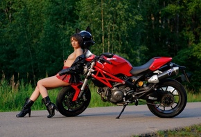 women, Victoria Sokolova, plaid skirt, women with motorcycles, Ducati, road ...