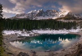 Forest, Lake, Mountains, Nature, Italy