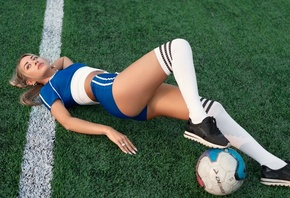 women, ass, brunette, blonde, sneakers, ball, short shorts, synthetic grass, women outdoors, white stockings, high waisted short, crop top, T-shirt, sportswear