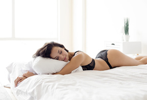 women, closed eyes, in bed, ass, black lingerie, pillow, lying on front, smiling, pink nails, brunette