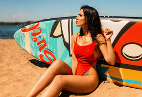 women, one-piece swimsuit, sand, red lipstick, surfboards, tattoo, sitting, ...