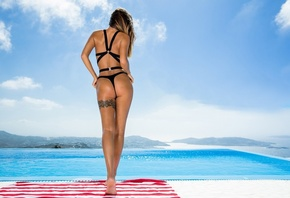 women, brunette, black bikini, women outdoors, tattoo, sky, clouds, ass, ba ...