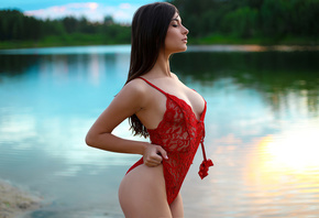 women, river, ass, brunette, red swimsuit, cleavage, women outdoors, long hair, red lingerie, pink nails