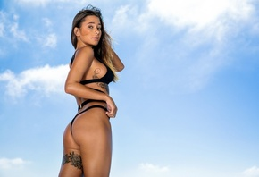 women, brunette, black bikini, tattoo, sideboob, nose ring, sky, clouds, ho ...