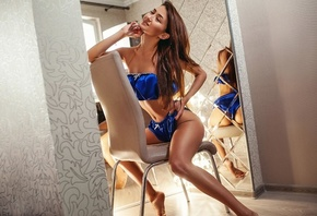 women, brunette, sitting, underwear, closed eyes, chair, mirror, reflection ...