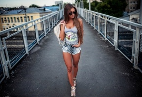 women, tank top, jean shorts, tanned, women outdoors, sunglasses, bridge, handbags, sneakers, long hair, railway, brunette
