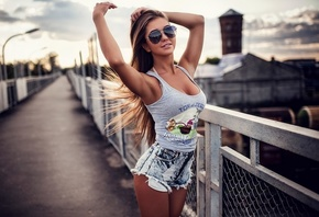 women, tank top, jean shorts, tanned, women outdoors, sunglasses, bridge, long hair, armpits, smiling, train, brunette