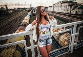 women, tank top, jean shorts, tanned, women outdoors, sunglasses, bridge, smiling, hoods, white sweater, train, railway, long hair, brunette