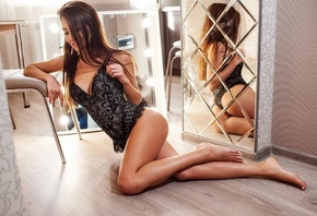 women, brunette, black lingerie, sitting, cleavage, mirror, reflection, on  ...