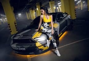 Ford Mustang, women, ford, girl, parking, sexy, tuning