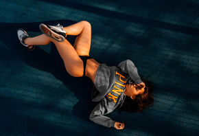 women, closed eyes, black panties, sneakers, Nike, belly, pierced navel, brunette, sweater, red nails