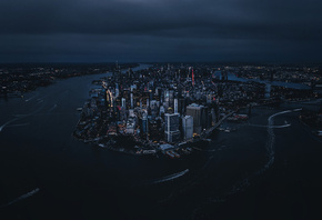 Manhattan, New York City, ночь, город
