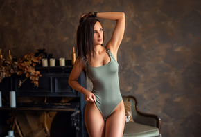 women, bodysuit, brunette, wall, candles, watch, looking away, the gap, armpits