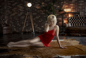women, blonde, sitting, red dress, red nails, wall, bricks, light bulb, lam ...