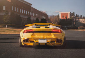 Lamborghini, Yellow, вид сзади