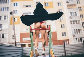 women, tattoo, black sweater, red lingerie, women outdoors, building, sneak ...
