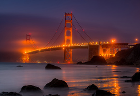 Golden Gate Bridge, evening, night, cityscape, city lights, San Francisco