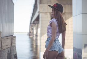 women, baseball cap, jean shorts, ass, brunette, bridge, river, looking away, women outdoors