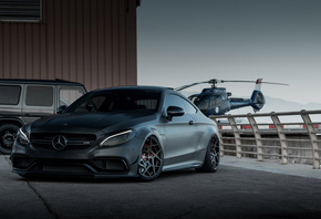 Mercedes, AMG, C63S, C205, black, coupe, tuning, C63