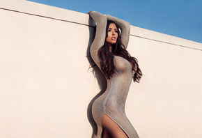 Abigail Ratchford, women, model, brunette, see through clothing, big boobs, edited, arms up