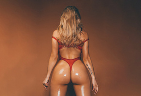Ashley Denise, model, women, curvy, edited, tattoo, body oil, oiled body, simple background, blonde, tanned, wet body, red lingerie
