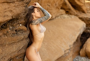 women, ass, brunette, closed eyes, tattoo, bikini, belly, long hair, women  ...