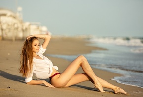 women, white shirt, ass, sand, sitting, sea, long hair, women outdoors, brunette, swimwear