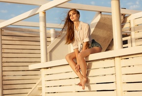 women, sitting, brunette, jean shorts, white shirt, women outdoors, long hair, looking away