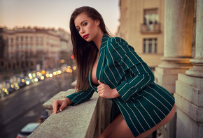 women, balcony, ass, boobs, red lipstick, portrait, bokeh, long hair, brunette
