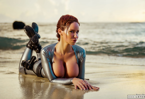 bianca beauchamp, big boobs, tomb raider, lara croft, cosplay, beach, latex, рыжая, девушка, грудь