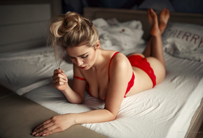women, blonde, in bed, red lingerie, pillow, lying on front, ass, red lipstick, feet in the air