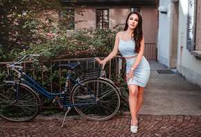 women, skirt, long hair, women with bicycles, bicycle, women outdoors, watc ...