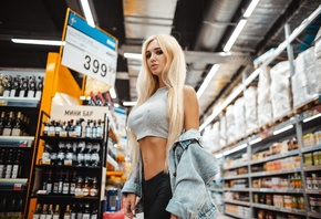 women, Artem SolovЬev, blonde, tank top, long hair, supermarket, belly, pierced navel, denim, juicy lips, ribs, Arishka Mironova