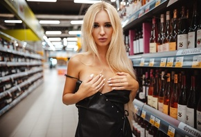 women, Arishka Mironova, Artem SolovЬev, black dress, supermarket, juicy lips, bottles, hands on boobs, brunette, covering boobs, long hair