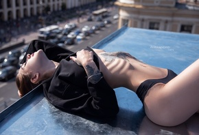 women, skinny, belly, ribs, closed eyes, black panties, black sweater, rooftops, arched back, women outdoors, alexander ten