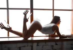 women, window, ass, feet in the air, high heels, arched back, long hair, brunette, bodysuit, white nails