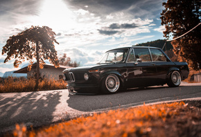 BMW, 2002, E10, black, coupe, tuning, E10, 2002TI, lowrider