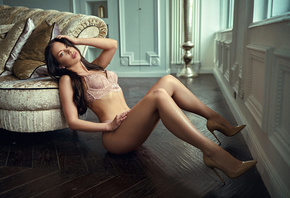 women, sitting, on the floor, high heels, lingerie, wooden floor, belly, lo ...