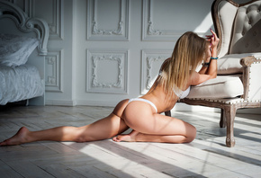 women, blonde, painted nails, ass, kneeling, bed, pillow, white lingerie, straight hair, on the floor, long hair, brunette