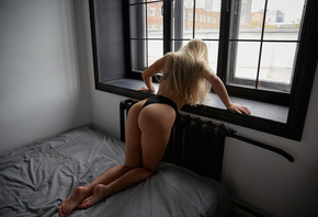 women, window, black lingerie, in bed, kneeling, blonde, brunette, long hair, black bras, black panties, ass