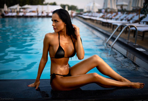 women, tanned, swimming pool, women outdoors, black bikini, belly, sitting, ...
