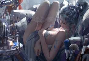 colors, girl, fantasy, legs, stockings, elf, digital art, artwork