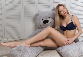 women, blonde, sitting, brunette, pink lipstick, teddy bears, belly, pink nails, on the floor, blue lingerie