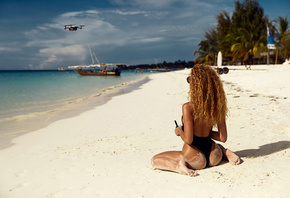 Julia Yaroshenko, women, ass, sea, kneeling, drone, sunglasses, sand covered, beach, one-piece swimsuit, palm trees, sky, clouds, tanned, boat